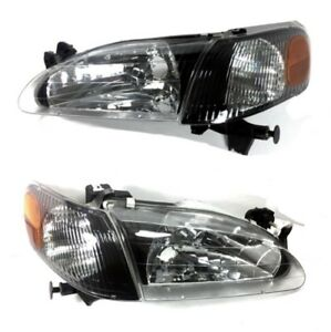 1998 2000 Toyota Corolla Black Headlights Corner Lamps Set Headlamp 98 99 00