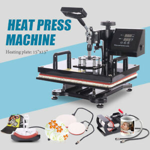 15 x 15 Heat Press 8in1 Combo Transfer Machine Printing T shirt Plate Cup Hat