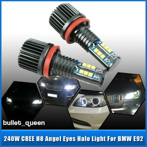 2pcs 120w H8 Cree Led Angel Eyes Halo Ring Light White Bulbs Error Free For Bmw