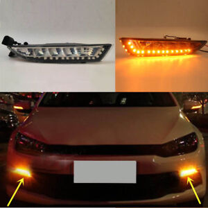 2pcs Yellow Drive Lamp Drl Daytime Running Light For Volkswagen Scirocco 2013 15