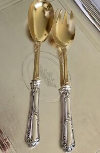 Antique French Sterling Silver Vermeil Salad Set By Tallois