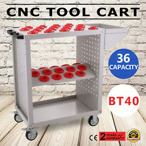 Bt40 Cnc Tool Trolley Cart Holders Toolscoot White Milling Rolling Service Cart