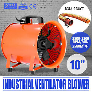 10 Industrial Extractor Fan Blower W Duct Hose Utility Garage 110v 250mm