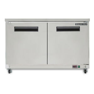 Maxx Cold 48 W Two Solid Door Commercial Undercounter Stainless Steel Freezer