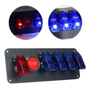 Racing Car Ignition Switch Blue Red Engine Start Push Led Toggle Button Panel