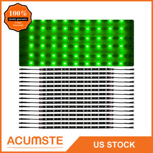 14 Green Car Truck Underglow Under Body Neon Accent Glow Led Lights Kit 12 strip