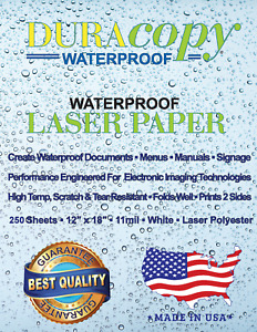 12 X 18 11 Mil Duracopy Polyester Synthetic Waterproof Paper 250 Sheet Carton
