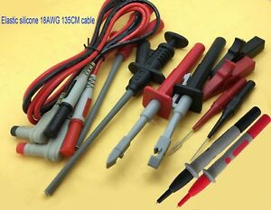Car Test Hook Probes Multimeter Pen Insulated Piercing Silicone Cable Test Clips