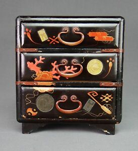 Japanese Meiji Era Makie Lacquer Box With Drawers Applied Coin