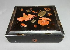 Japanese Meiji Era Makie Lacquer Box With Applied Coin