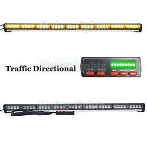 39 36w Led Warning Emergency Traffic Adviser Directional Strobe Light Bar Amber