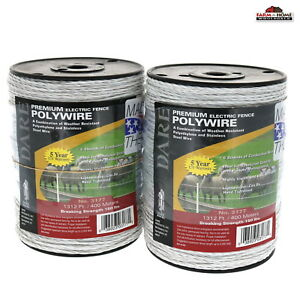 Electric Fence Wire Polywire White Dare 1312 Ft 2 Pack New Ships Fast