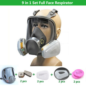 9 In 1 Chemical Gas Dust Safety Paint Full Face Respirator Mask For 3m 6800 Mask
