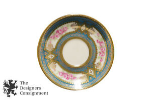 Antique Royal Vienna Tea Saucer Ackermann Fritze Blue Green Greek Key Plate