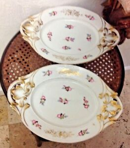 Pair Antique 19th Century Old Paris Porcelain Platters