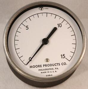 Moore Products 3189 5 Back Mount Air Pressure Gauge 3 1 2 0 15 Psi Steampunk