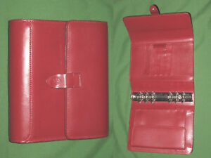Compact 1 25 Red Leather Franklin Covey Planner Binder Organizer Open 2198