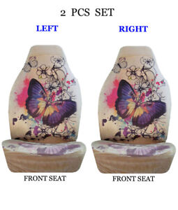 Car Truck 2 Piece Set Sublimation Design High Back Front Seat Covers 1085 Beige