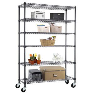 6 Tier Heavy Duty Wire Shelving Rack Adjustable Steel Shelf 48 x82 x18 Black