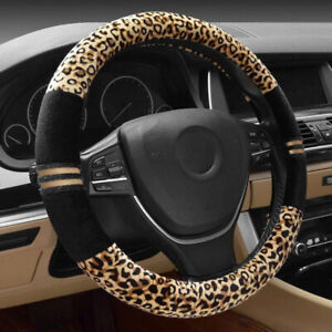 1pc Leopard Plush Car Steering Wheel Cover Decoration Wrap Protector Universal