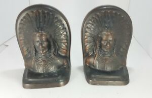 Antique Vintage Pair Bronze Bookends Book End Indian Chief Bust Decorative Arts