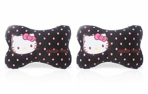 Finex Set Of 2 Hello Kitty Dog Bone Shaped Head Neck Rest Cushion For Car Black