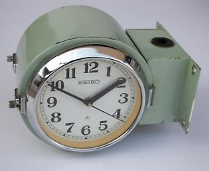 Antique Original Marine Ship Slave Clock Seiko Quartz Made In Japan Dual Face