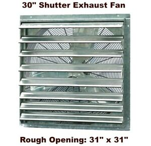 Commercial Exhaust Fan Wall Mount Shutter 30 Single Speed Greenhouse Workshop