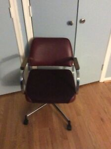 Office Chair Or Desk Chair Burgundy Upholstary Metal And Wood Swivel