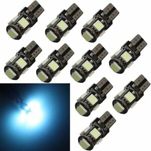 10pcs Ice Blue Canbus Error Free T10 194 168 W5w 5smd Car Led License Lights 12v