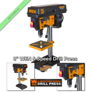 Wen Drill Press 8 Benchtop 5 Speed 1 3 Hp Bench Top Adjustable Beveling Table