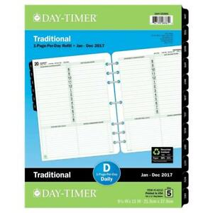 Day timer Daily Planner Refill 2017 One Page Per Day Traditional 8 1 2 X