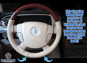 2003 2004 Lincoln Navigator 2wd 4x4 genuine Leather Steering Wheel Cover Tan