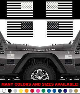 Set Of 2 Us American Flag For Left Right Side Vinyl Sticker Decal White Or Black