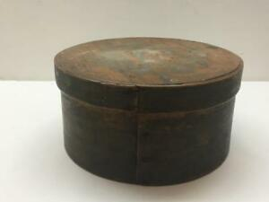 Antique Primitive 19th C Round Shaker Pantry Sewing Box Bentwood Folk Art