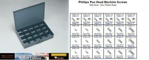 Pan Head Phillips Machine Screw Zinc Assortment In Locking Metal Tray