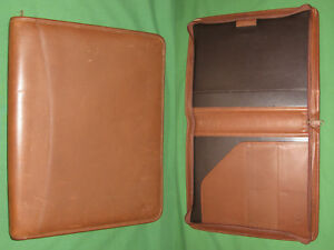 Zipper Note Pad 8 5x11 Caramel Brown Leather Levenger Planner Binder Monarch