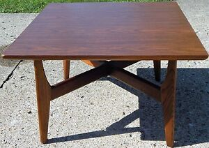 Vintage Danish Mid Century Modern Square Coffee Table Teak Formica Top L Stamp