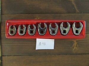 Snap On 3 8 Dr 6pt Sae 3 8 3 4 Flare Nut Crowfoot Set 7 Piece A48