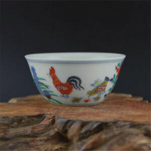 China Old Antique Porcelain Ming Chenghua Famille Rose Chicken Gang Cup