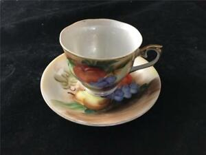 T Miyake Hand Painted Fruits Cup Saucer