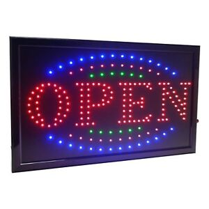 21 5 x13 Large High Visible Led Light Business Open Sign With Chain On off