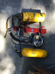 Vintage Scott Air pack Fireman s Oxygen Tank Breathing Mask With Ziamatic Wall