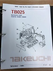 Takeuchi Tb025 Parts Manual S n 1255001 1258249 And Up Free Priority Shipping
