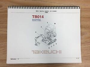Takeuchi Tb014 Parts Manual S n 11410001 And Up Free Priority Shipping