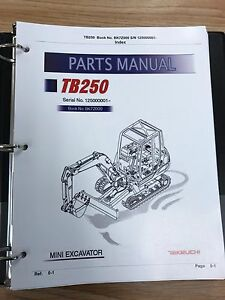 Takeuchi Tb250 Parts Manual S n 125000001 And Up Free Priority Shipping