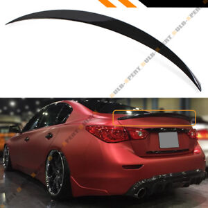 For 2014 18 Infiniti Q50 Jdm Vip Painted Gloss Black Trunk Lid Spoiler Wing
