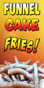 Funnel Cake Fries Vinyl Vertical Banners choose A Size Carnival