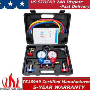R134a Hvac A C Refrigeration Kit Ac Manifold Gauge Set Auto Service Kit R12 R22