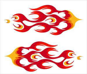 Pair Of Flames 3m Vinyl Decal Sticker Hot Rod Car Truck Go Kart Boat Motorcycle